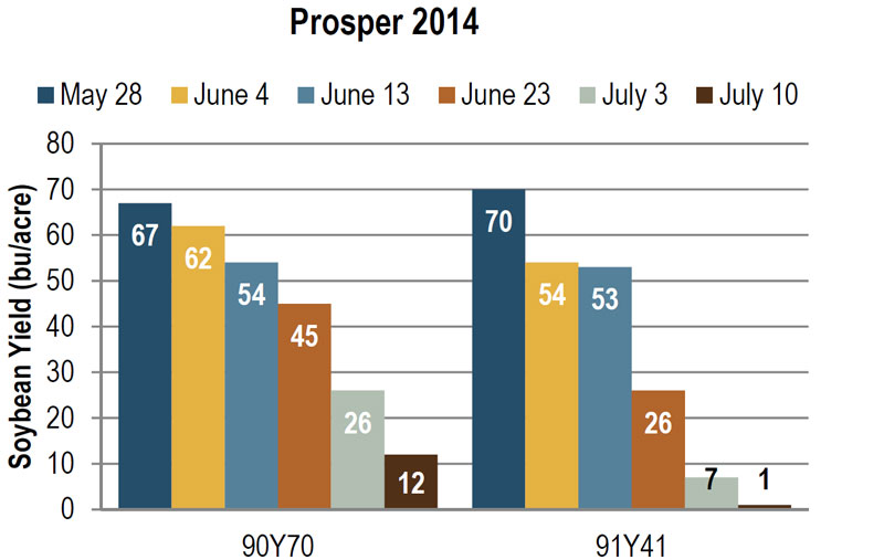 Soybean yield at Prosper in 2014, as influenced by planting date and variety.