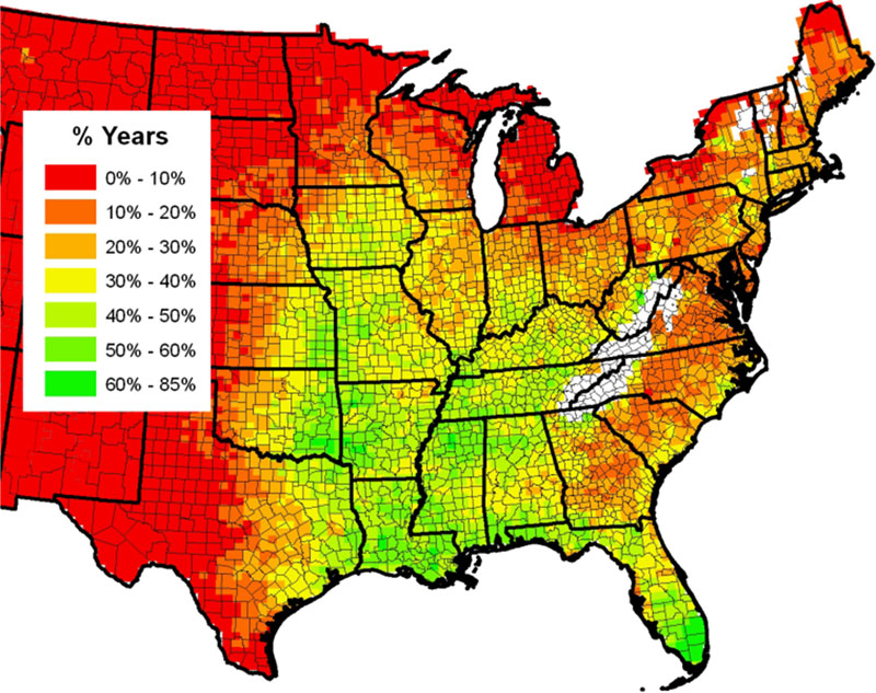 Map: Percent of years with greater than 14 inches of precipitation from April through June (U.S).