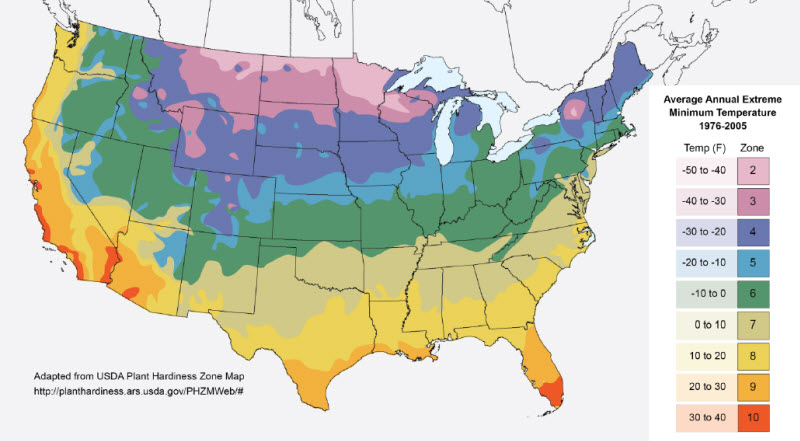 Select Winter Cover Crops Based On Geography Of Adaptation And - Us average winter temperature map
