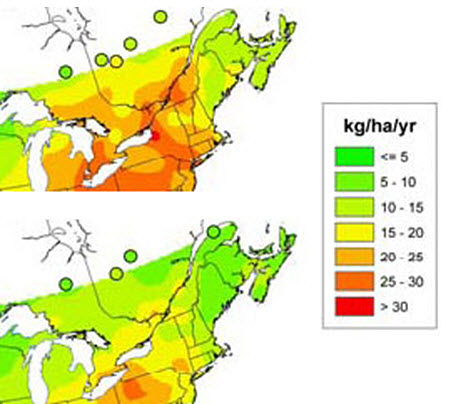 Average annual sulfate deposition from precipitation in eastern Canada