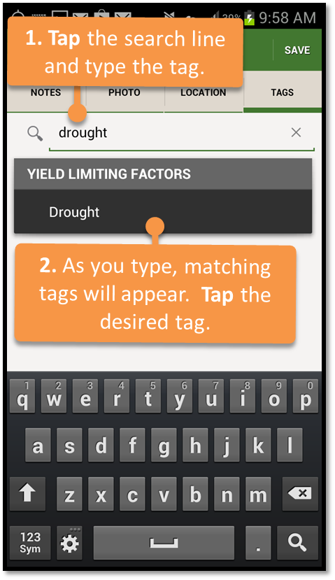 Tap the search line and type the tag.
