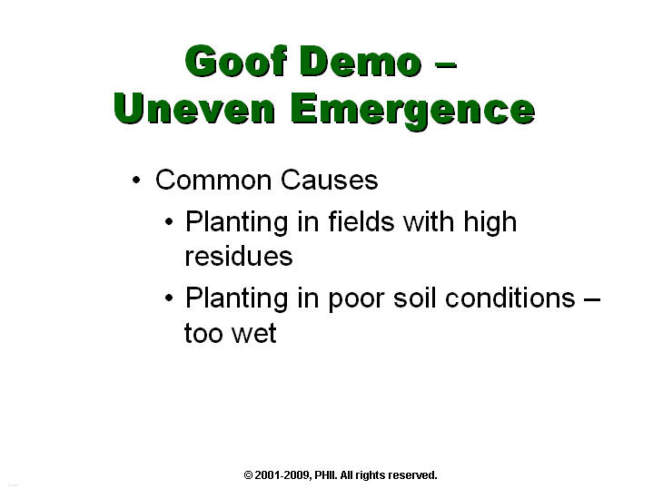 Goof Demo - Uneven Plant Emergence