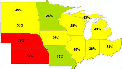 Percent of soil samples that fell below state optimum levels for P in the Corn Belt.