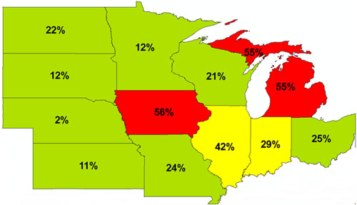 Percent of soil samples that fell below state optimum levels for K in the Corn Belt.
