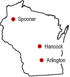 Study locations in Wisc.- Soybean Maturity Group Considerations at Different Latitudes and Planting Dates.