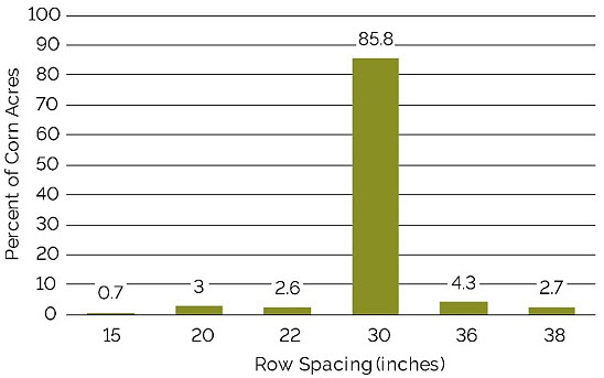 Chart showing corn row spacings in North America as a percentage of total acres, 2015.