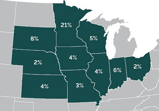 Row Width In Corn Grain Production Pioneer - Us-corn-belt-map