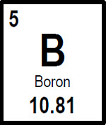 Symbol for boron (B).