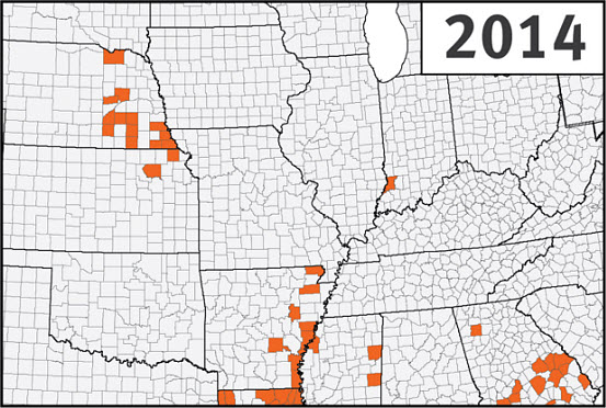 This is a map of the U.S. Corn Belt showing confirmed detections of southern rust in corn through the first week of September during the 2014 growing season.