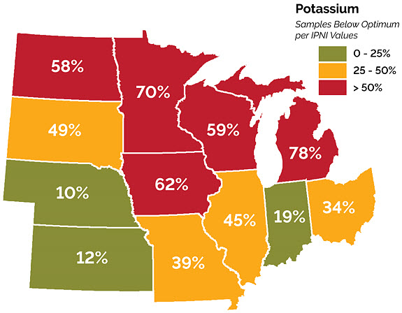 Map showing percent of soil samples that fell below state optimum levels for K in the Corn Belt in 2016.