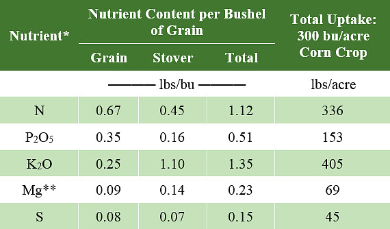 Table showing estimated amounts of selected nutrients in corn at maturity to support a 300 bu/acre grain yield.