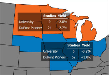 Map: Average corn yield response to narrow rows in northern and central Corn Belt states