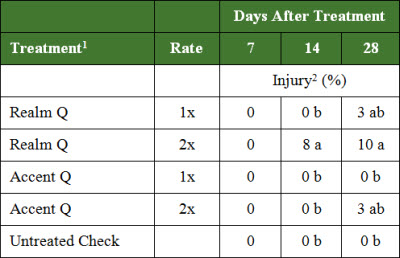 Table: Percent injury (%) to a corn hybrid known to be susceptible to SU damage at 7, 14 and 28 days after treatment.