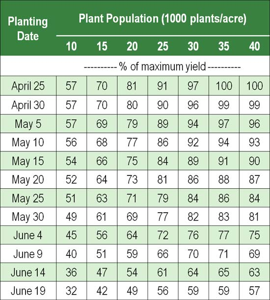 Corn yield potential for a range of planting dates and final plant populations.