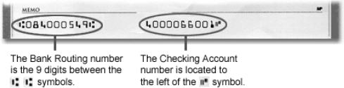 Routing number / Checking account number example.