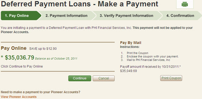 Deferred Payment Loans - Initiating Payment
