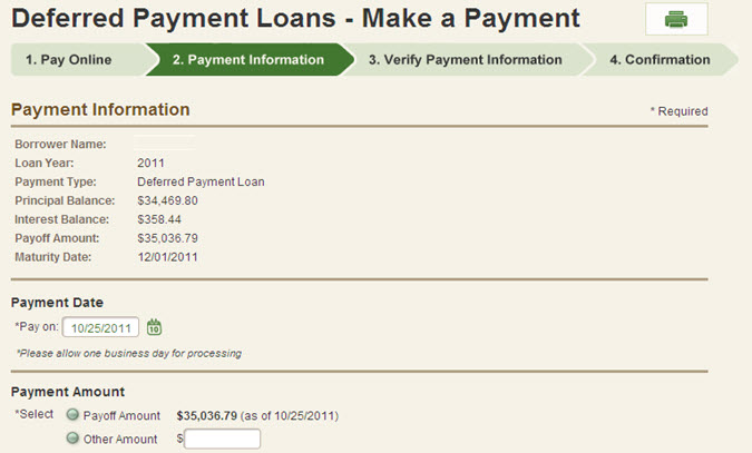 Deferred Payment Loans - Choose Payment Date and Amount