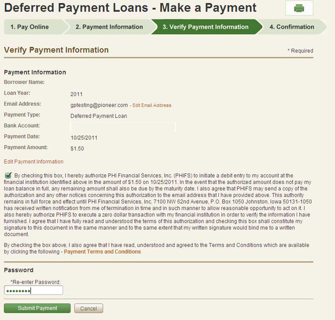 Deferred Payment Loans - Authorize Payment