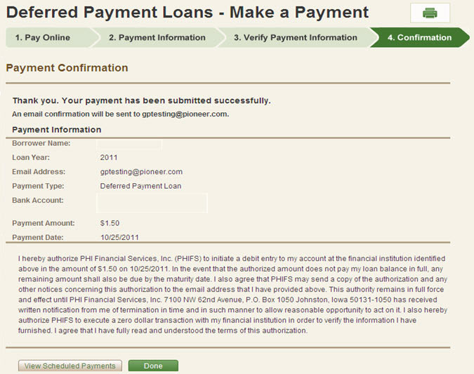 Deferred Payment Loans - Payment Confirmation