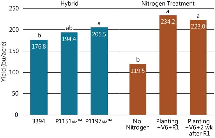 Table - Hybrid and nitrogen treatment effects on corn yield.