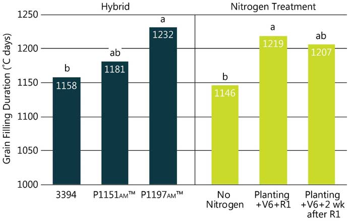 Table - Hybrid and nitrogen treatment effects on corn grain fill duration.