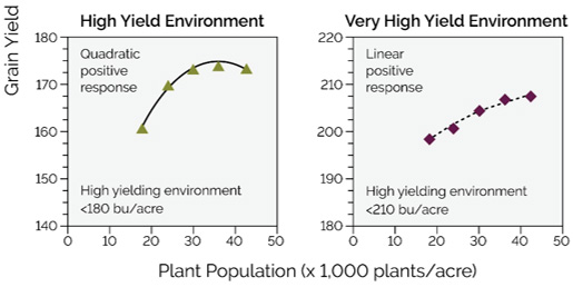 Corn hybrid response to plant population under four yield environments.