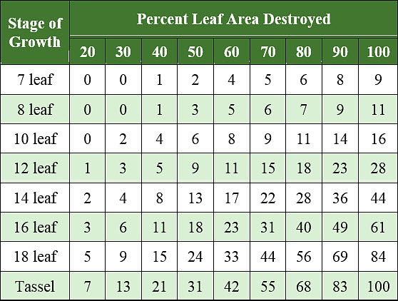 Table showing estimated percent yield reduction due to defoliation at various stages of growth.