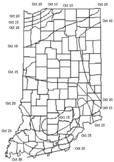Map - Indiana - Dates at which there is a 50% probability of an autumn freeze of 32°F or less.
