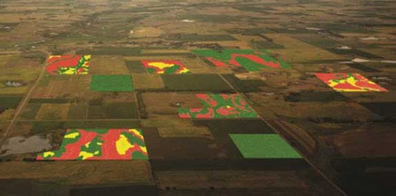 Photo - Arial photo of fields with VRS maps superimposed.